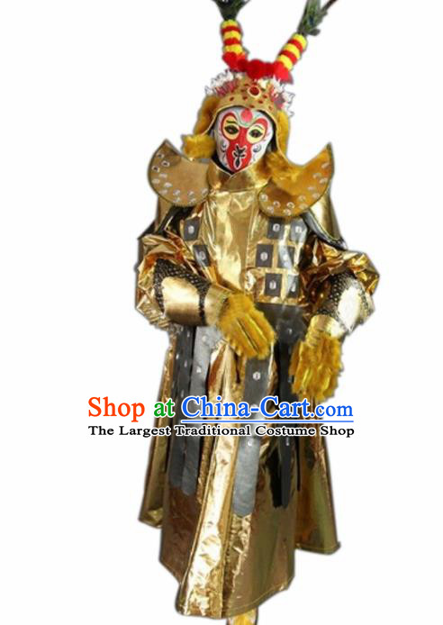 Chinese Traditional Sichuan Opera Sun Wukong Costume Face Changing Golden Clothing Complete Set for Men