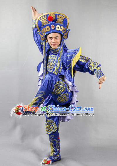 Chinese Traditional Sichuan Opera Blue Costume Face Changing Clothing Complete Set for Men