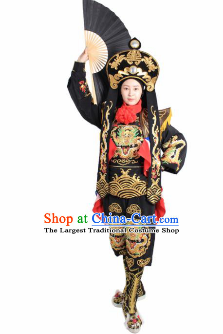 Chinese Traditional Sichuan Opera Black Costume Face Changing Clothing Complete Set for Women