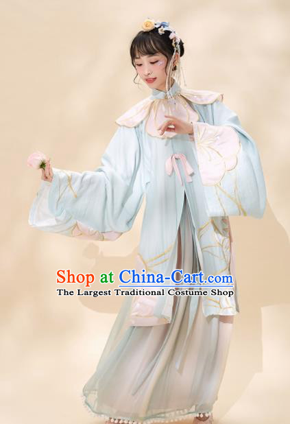 Chinese Traditional Peri Blue Hanfu Dress Ancient Ming Dynasty Princess Embroidered Costume for Women