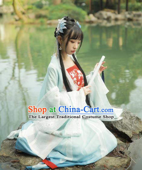 Chinese Traditional Peri Blue Hanfu Dress Ancient Tang Dynasty Princess Embroidered Costume for Women