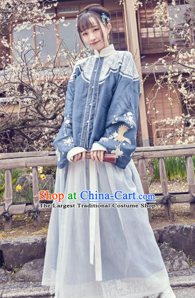 Chinese Traditional Blue Hanfu Dress Ancient Ming Dynasty Nobility Lady Embroidered Costume for Women