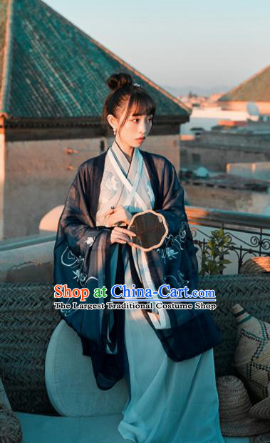 Chinese Traditional Navy Hanfu Dress Ancient Jin Dynasty Imperial Consort Embroidered Costume for Women