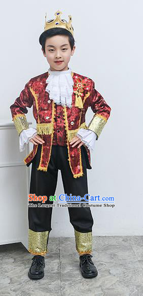 Europe Traditional Court Dance Wine Red Costume Drama Stage Performance Clothing for Kids