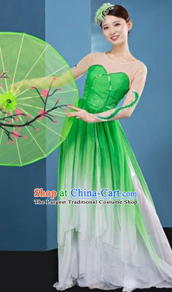 Chinese National Classical Dance Lotus Dance Green Dress Traditional Umbrella Dance Costume for Women