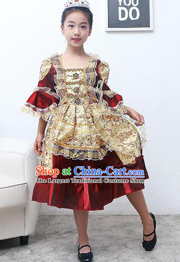 Europe Traditional Court Princess Dance Costume Drama Stage Performance Wine Red Dress for Kids