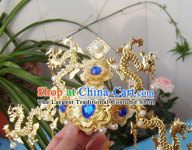 Chinese Traditional God of Wealth Hair Accessories Ancient Prince Golden Dragon Hairdo Crown for Men