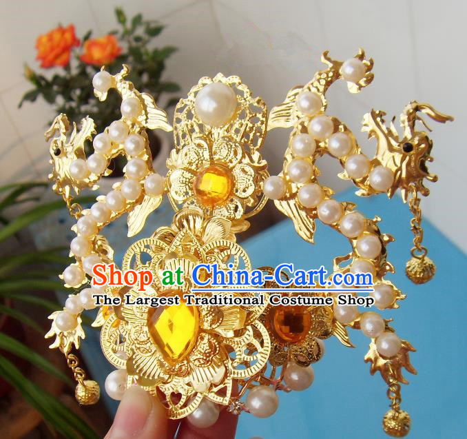 Chinese Traditional God of Wealth Hair Accessories Ancient Prince Yellow Crystal Dragon Hairdo Crown for Men