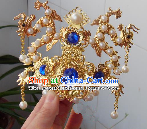 Chinese Traditional God of Wealth Hair Accessories Ancient Prince Blue Crystal Dragon Hairdo Crown for Men