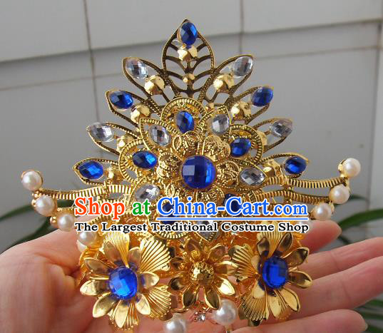 Chinese Traditional God of Wealth Hair Accessories Ancient Blue Crystal Hairdo Crown for Men