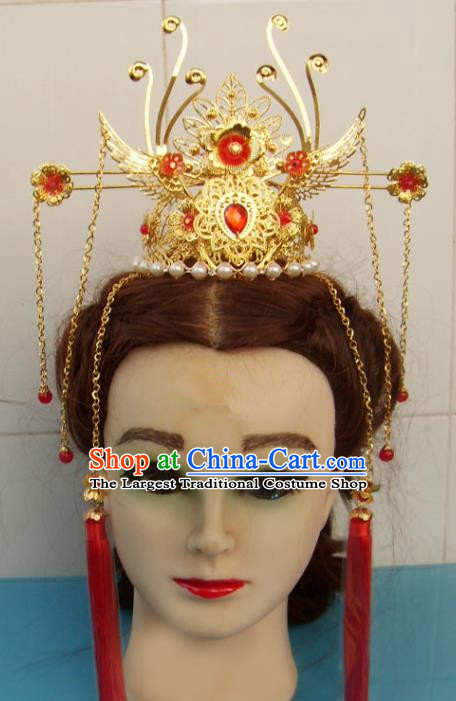 Chinese Traditional God of Wealth Hat Hair Accessories Ancient Prince Phoenix Hairdo Crown for Men