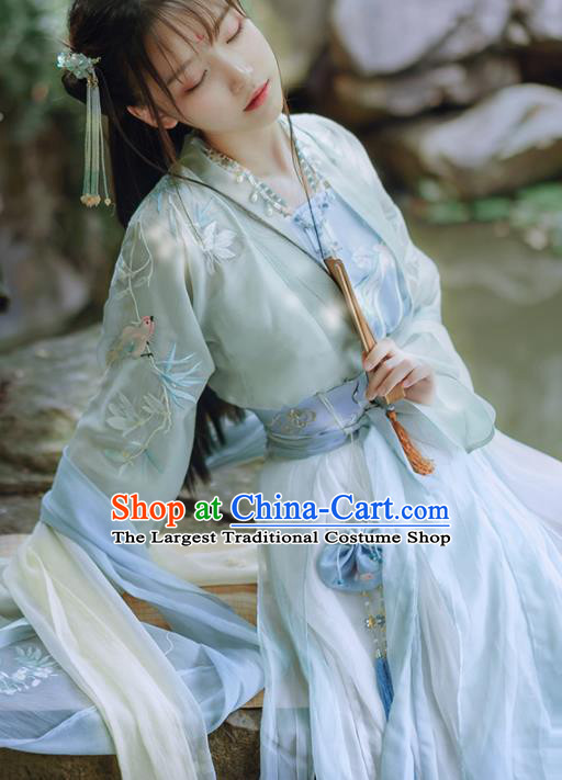 Chinese Traditional Hanfu Dress Ancient Tang Dynasty Princess Embroidered Costume for Women