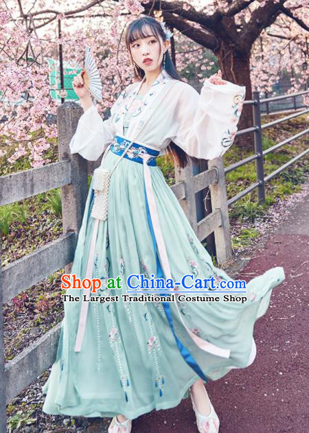 Chinese Traditional Peri Hanfu Dress Ancient Tang Dynasty Palace Princess Embroidered Costume for Women