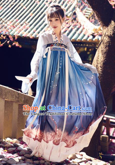 Chinese Traditional Tang Dynasty Young Lady Hanfu Dress Ancient Rich Embroidered Costume for Women