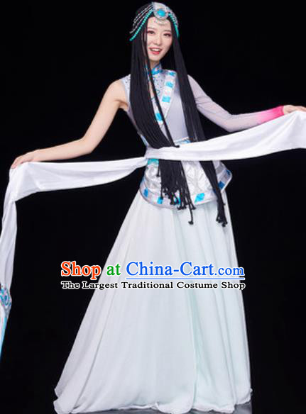 Chinese Traditional Tibetan Ethnic Folk Dance Dress Zang Nationality Dance Costume for Women