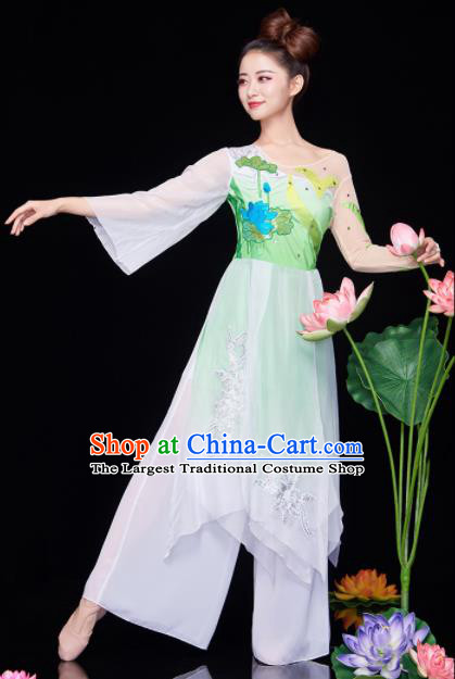 Chinese National Classical Dance Lotus Dance Dress Traditional Umbrella Dance Green Costume for Women