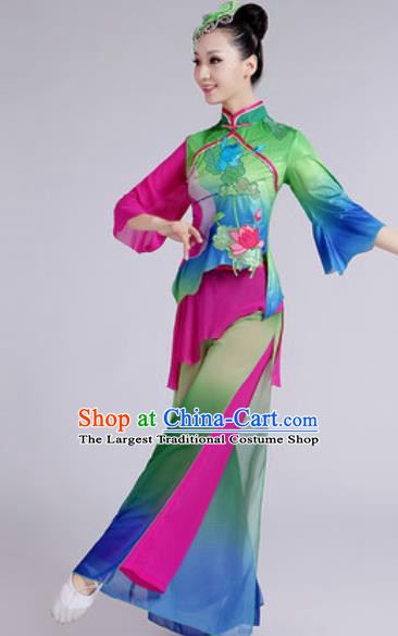 Chinese National Folk Dance Lotus Dance Green Costume Traditional Yangko Dance Fan Dance Clothing for Women