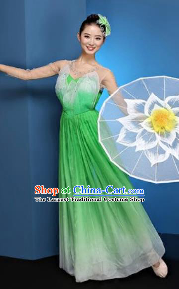Chinese National Classical Dance Green Dress Traditional Lotus Dance Umbrella Dance Costume for Women