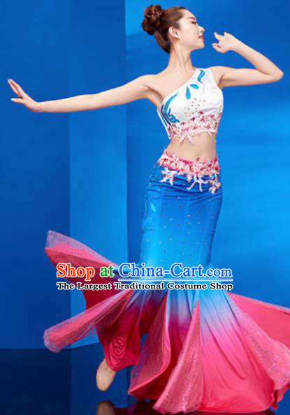 Chinese Traditional Ethnic Folk Dance Royalblue Dress Dai Nationality Peacock Dance Costume for Women