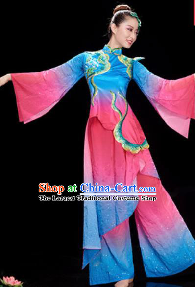 Chinese National Classical Dance Umbrella Dance Rosy Dress Traditional Lotus Dance Costume for Women