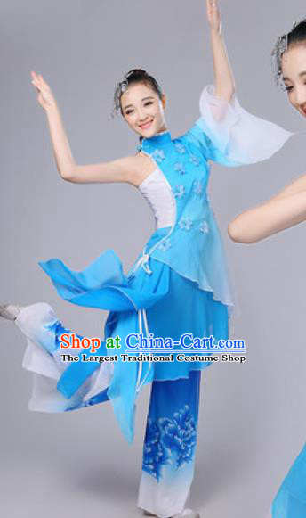 Chinese National Lotus Dance Umbrella Dance Blue Dress Traditional Classical Dance Costume for Women