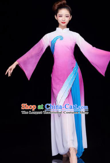 Chinese National Lotus Dance Umbrella Dance Light Purple Dress Traditional Classical Dance Costume for Women