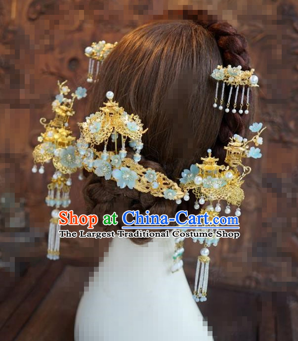 Chinese Traditional Handmade Hair Accessories Ancient Queen Luxury Hairpins Headwear Complete Set for Women