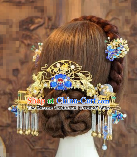 Chinese Traditional Handmade Blueing Hair Accessories Ancient Queen Luxury Hairpins Headwear Complete Set for Women