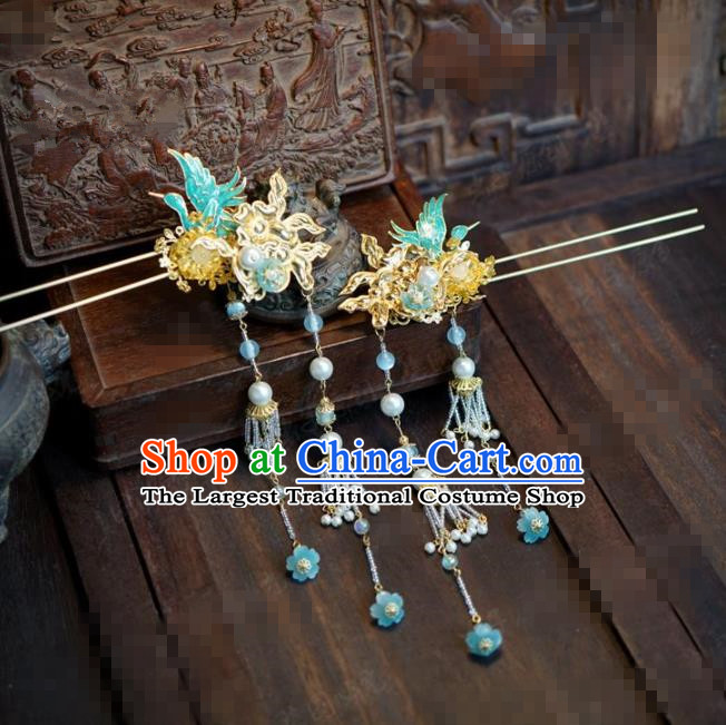 Chinese Traditional Hair Accessories Ancient Bride Crane Hairpins Handmade Tassel Step Shake Headwear for Women