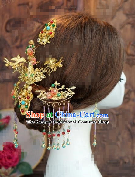 Chinese Traditional Hair Accessories Ancient Bride Palace Hairpins Headwear Complete Set for Women