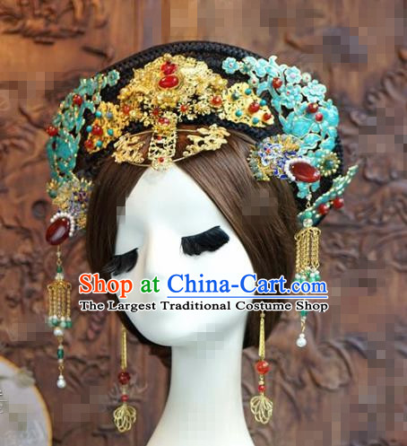 Chinese Traditional Handmade Qing Dynasty Phoenix Coronet Ancient Hairpins Hair Accessories Complete Set for Women
