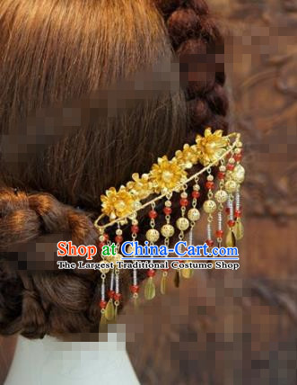 Chinese Traditional Hair Accessories Ancient Palace Tassel Step Shake Bride Golden Hairpins Headwear for Women