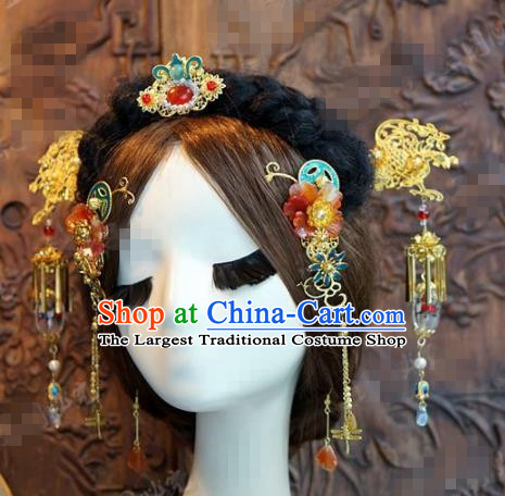 Chinese Traditional Palace Hair Accessories Complete Set Ancient Tassel Hairpins Headwear for Women