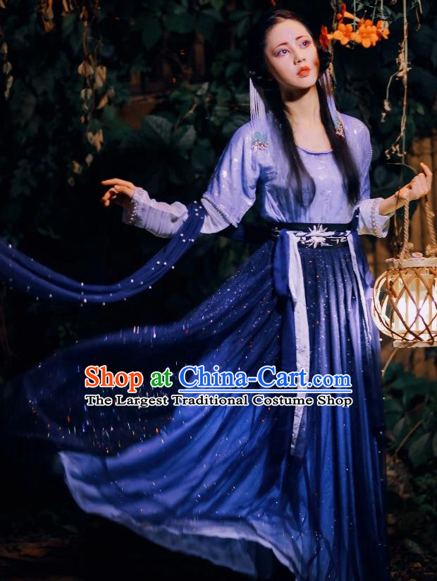 Chinese Traditional Tang Dynasty Court Maid Blue Hanfu Dress Ancient Peri Costume for Women