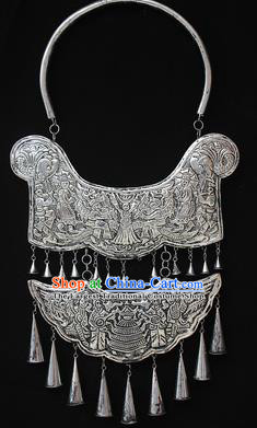 Chinese Traditional Miao Nationality Sliver Necklet Hmong Wedding Carving Necklace for Women