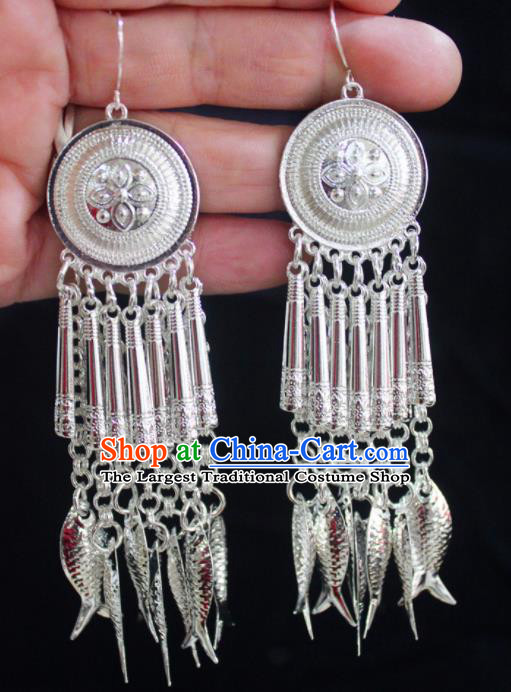 Traditional Chinese Sliver Fishes Tassel Ear Accessories Miao Nationality Wedding Earrings for Women