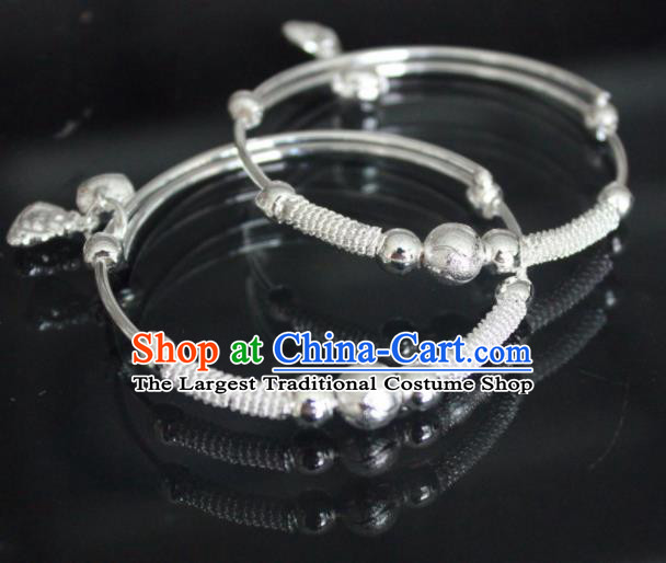 Chinese Traditional Miao Nationality Bracelet Hmong Wedding Sliver Bangle for Women