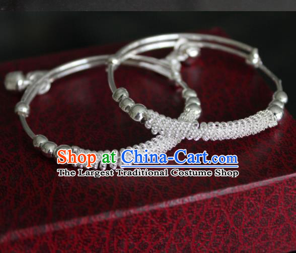 Chinese Traditional Miao Nationality Bracelet Hmong Wedding Sliver Bells Bangle for Women