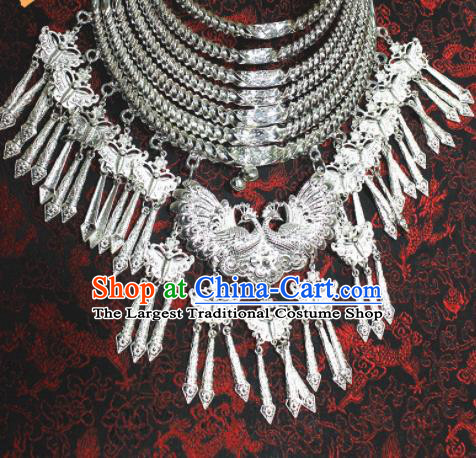Chinese Traditional Miao Nationality Necklet Hmong Wedding Sliver Peacock Necklace for Women