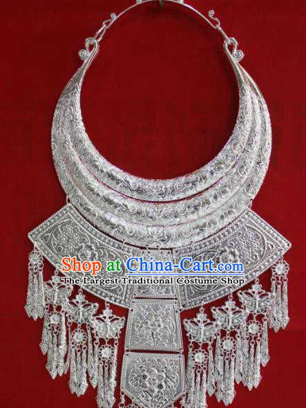 Chinese Traditional Miao Nationality Necklet Hmong Wedding Sliver Carving Necklace for Women