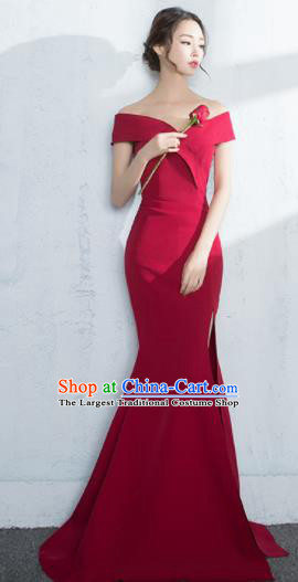Professional Compere Red Fishtail Full Dress Modern Dance Princess Wedding Dress for Women