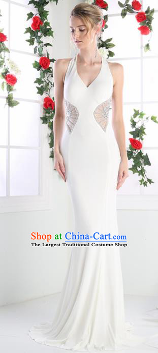 Top Grade White Crystal Full Dress Compere Modern Fancywork Costume Princess Wedding Dress for Women