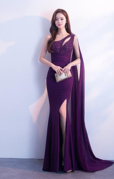 Top Grade Purple Trailing Full Dress Compere Modern Fancywork Costume Princess Wedding Dress for Women