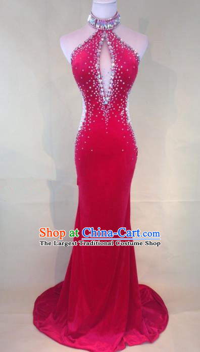 Professional Compere Red Full Dress Modern Dance Princess Wedding Dress for Women