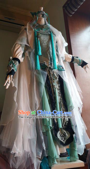 Chinese Traditional Cosplay Female Knight Costume Ancient Swordswoman Green Dress for Women