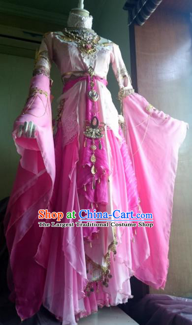 Chinese Traditional Cosplay Peri Princess Costume Ancient Female Knight Swordswoman Pink Dress for Women