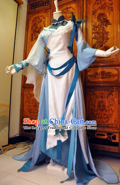 Chinese Traditional Cosplay Female Knight Princess Costume Ancient Peri Swordswoman Blue Dress for Women