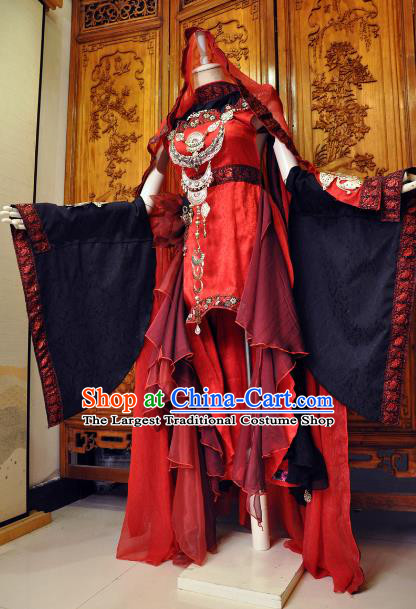 Chinese Traditional Cosplay Female Knight Costume Ancient Swordswoman Red Dress for Women