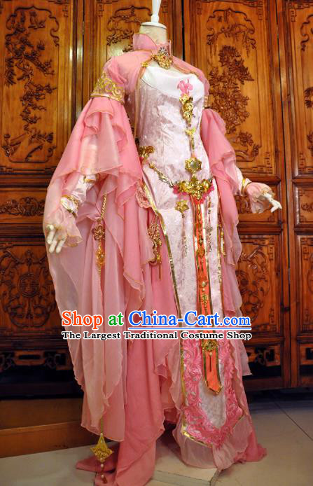 Chinese Traditional Cosplay Heroine Costume Ancient Swordswoman Female Knight Pink Dress for Women