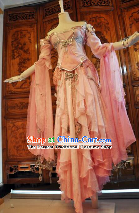 Chinese Traditional Cosplay Heroine Female Knight Costume Ancient Swordswoman Pink Dress for Women